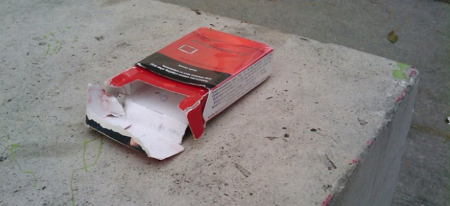 discarded cigarette pack